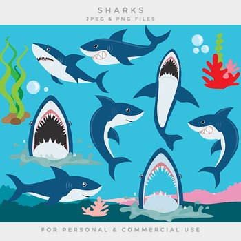Shark clipart clip art sea seaweed coral sea life ocean sharks fish.