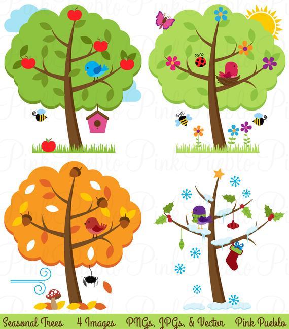Four Seasons Trees Clipart Clip Art, Seasonal Trees and Birds Clipart Clip  Art Vectors.