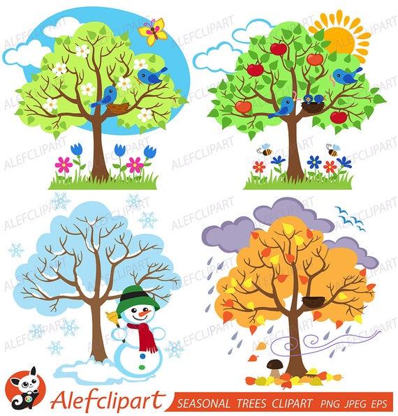 Four Seasons Trees Clipart Seasonal Trees and Birds Clipart Clip Art  Vectors.