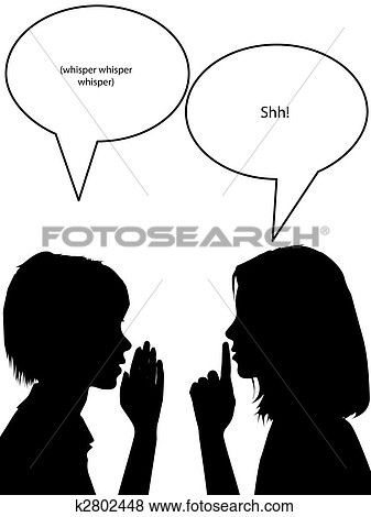 Whisper shh silhouette women tell secrets Clip Art in 2019.