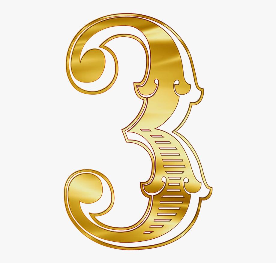 Número Dorado 3 Clipart Clipart, Monogram, See Through,.