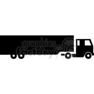 Semi Truck Silhouette clipart. Royalty.