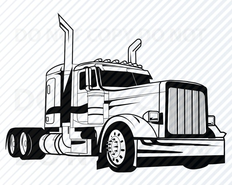 Semi Truck SVG Files for Cricut Vector Images Silhouette Mack Truck  Clipart.