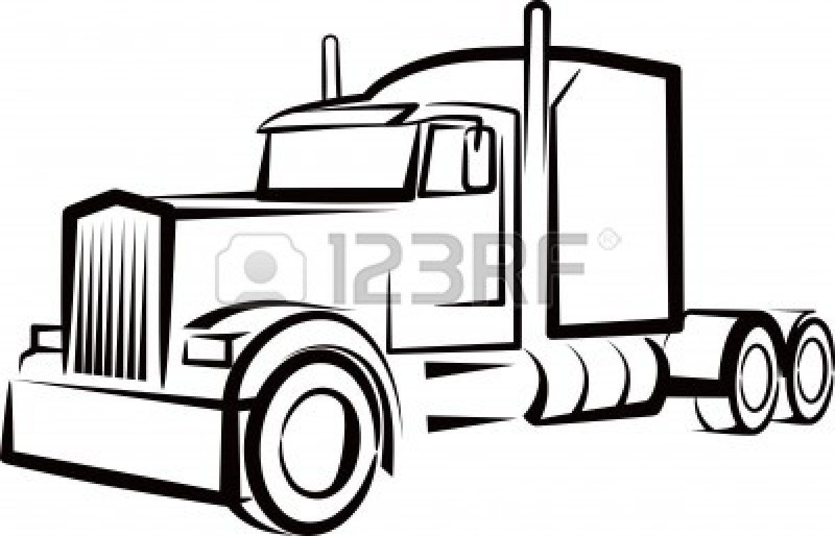 semi truck outline for a shirt.