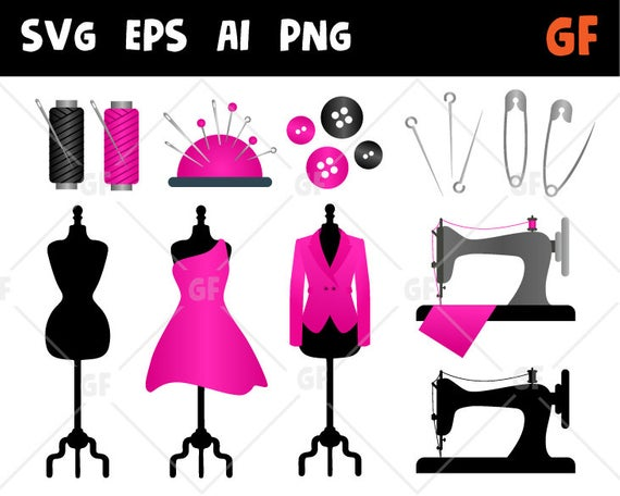 Sewing clipart, sew clip art, sewing machine svg, sewing svg, buttons  needles thread vector, sewing tool, fashion clipart, sewing silhouette.