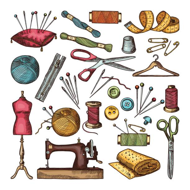 Best Sewing Tools Illustrations, Royalty.