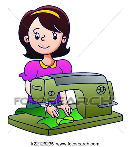 Mother with Sewing Machine Clipart.