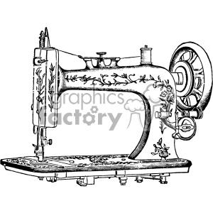 vintage sewing machine vector vintage 1900 vector art GF clipart.  Royalty.