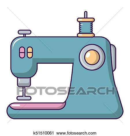 Sewing machine icon, cartoon style Clip Art.
