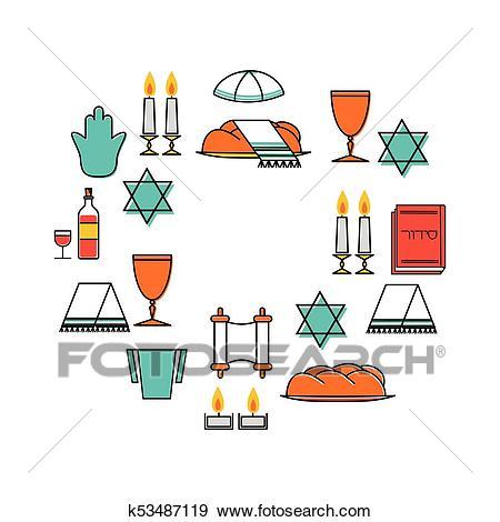 Shabbat shalom greeting card Clip Art.