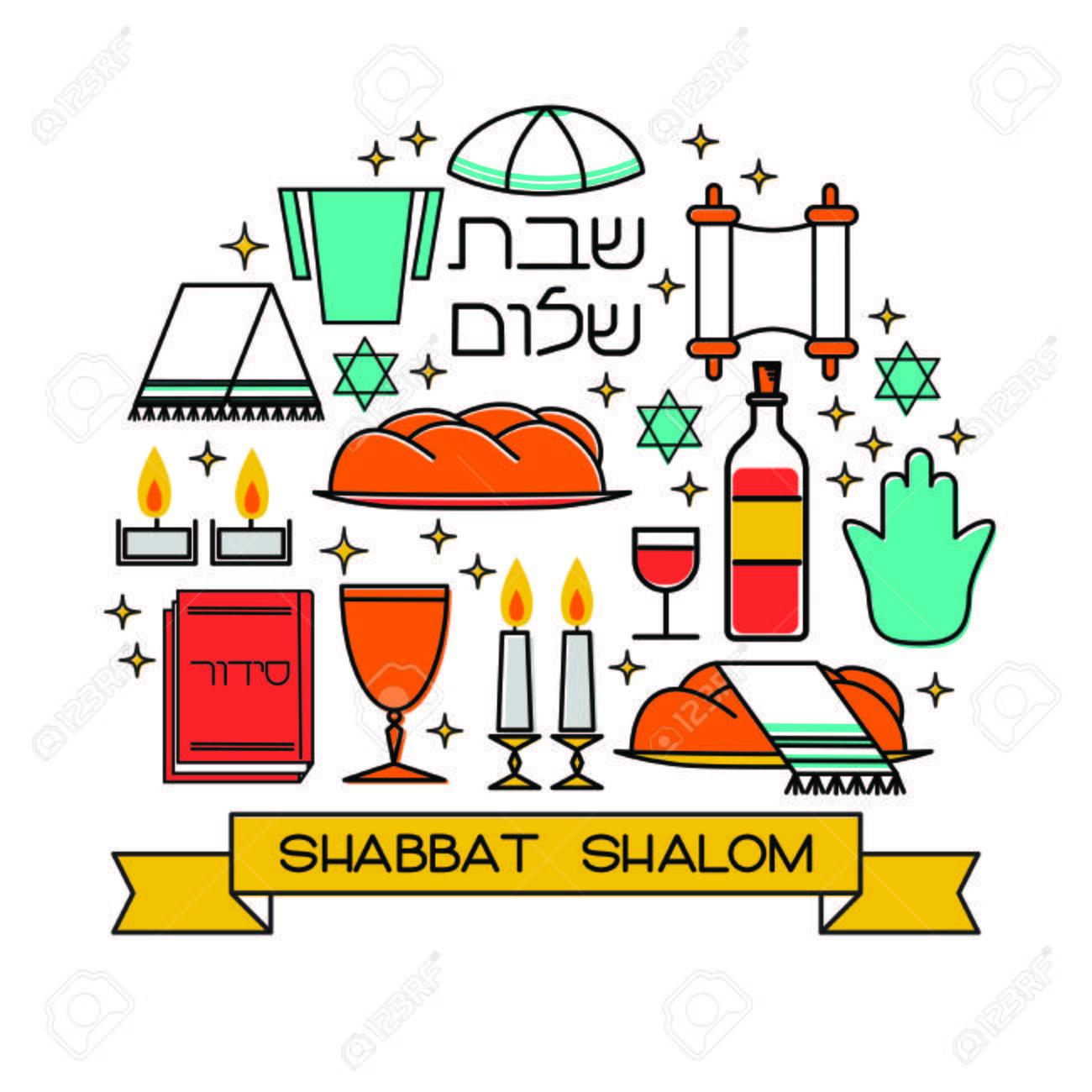 Shabbat shalom greeting card. Star of David, candles, kiddush...