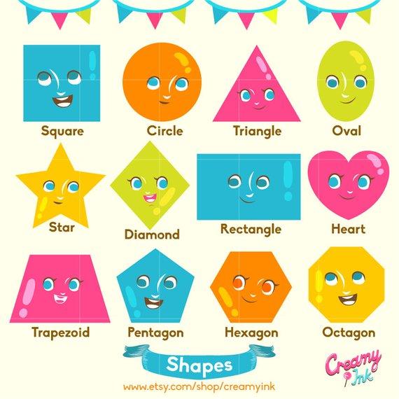 Shapes Digital Vector Clip art / Educational Digital Clipart Design.