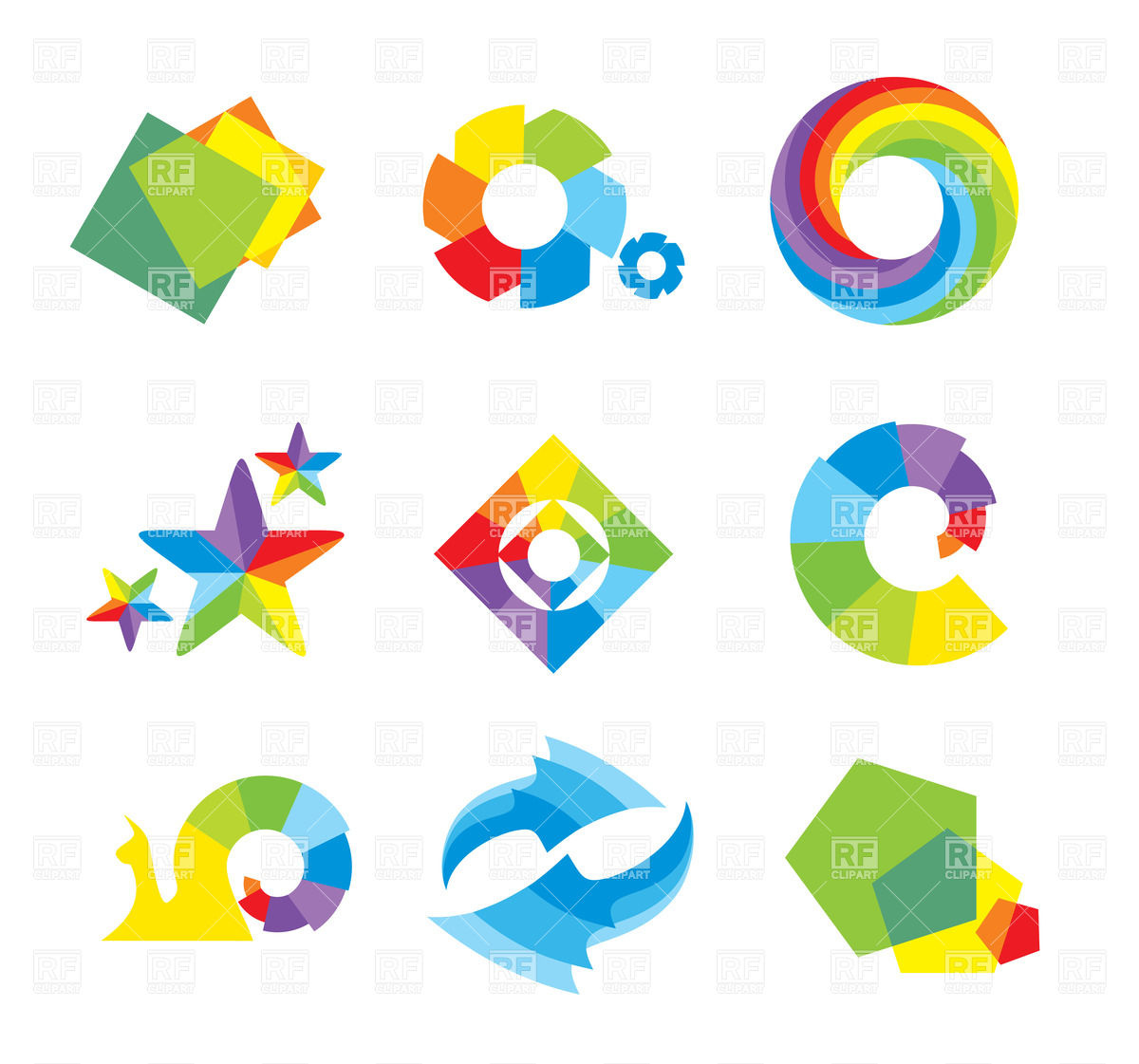 Set of design elements and abstract geometric shapes Stock Vector Image.