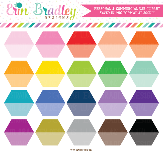 Ombre Hexagon Clipart Shapes.