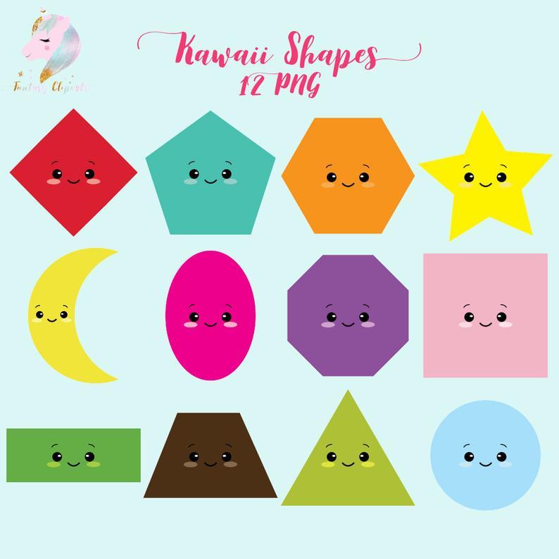 Kawaii shapes, kawaii clipart, shapes clip art, teachers clipart, kawaii  stationery, kawaii supplies, sweet kawaii design, back to school, s.