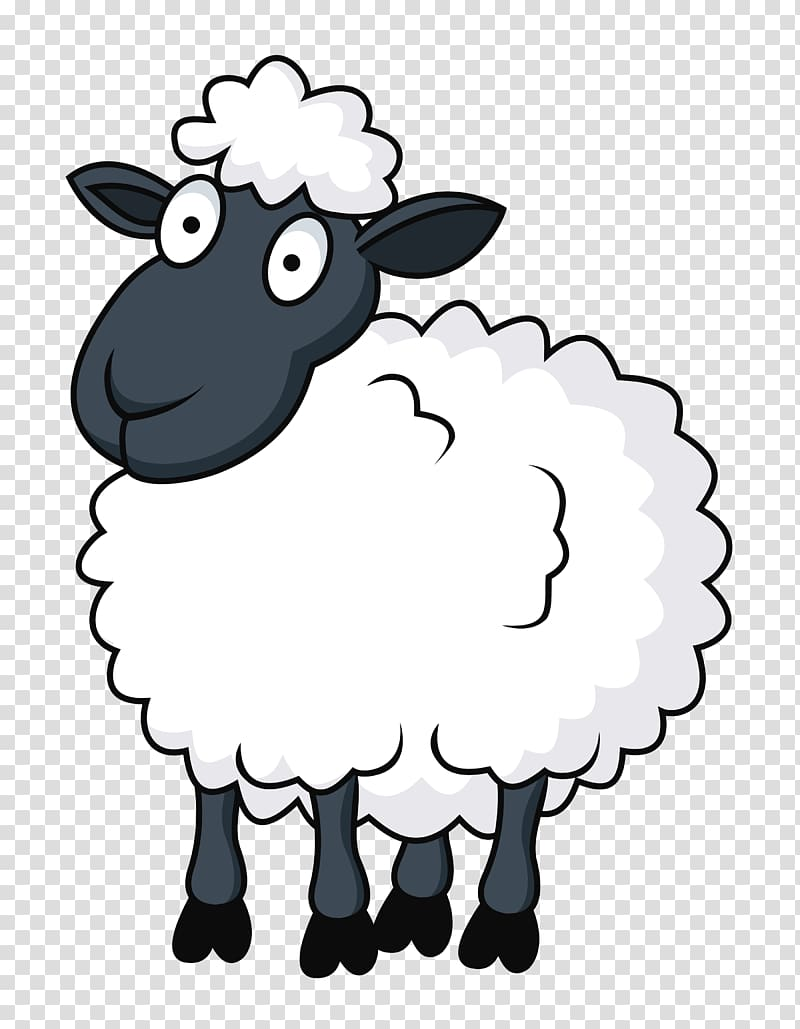 White and black sheep illustration, Sheep Cartoon , sheep.