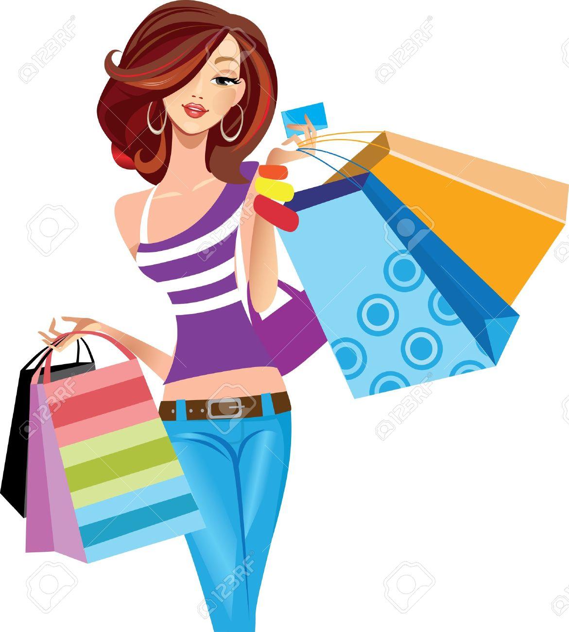 Girl Shopping Clipart.