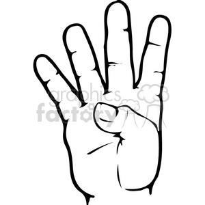 ASL sign language 4 clipart illustration . Royalty.