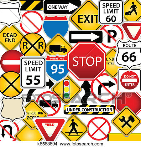 Road and traffic signs Clipart.