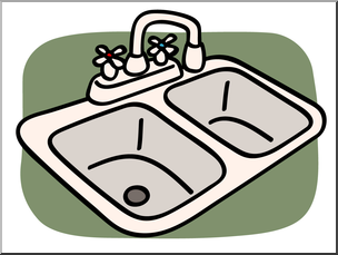 Clip Art: Basic Words: Sink Color Unlabeled I abcteach.com.