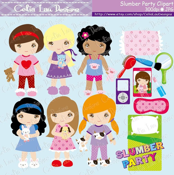 Pajama Party Clipart, Slumber Party clipart, Cute Girl Night.