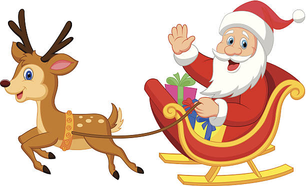Best Reindeer Sledding Illustrations, Royalty.