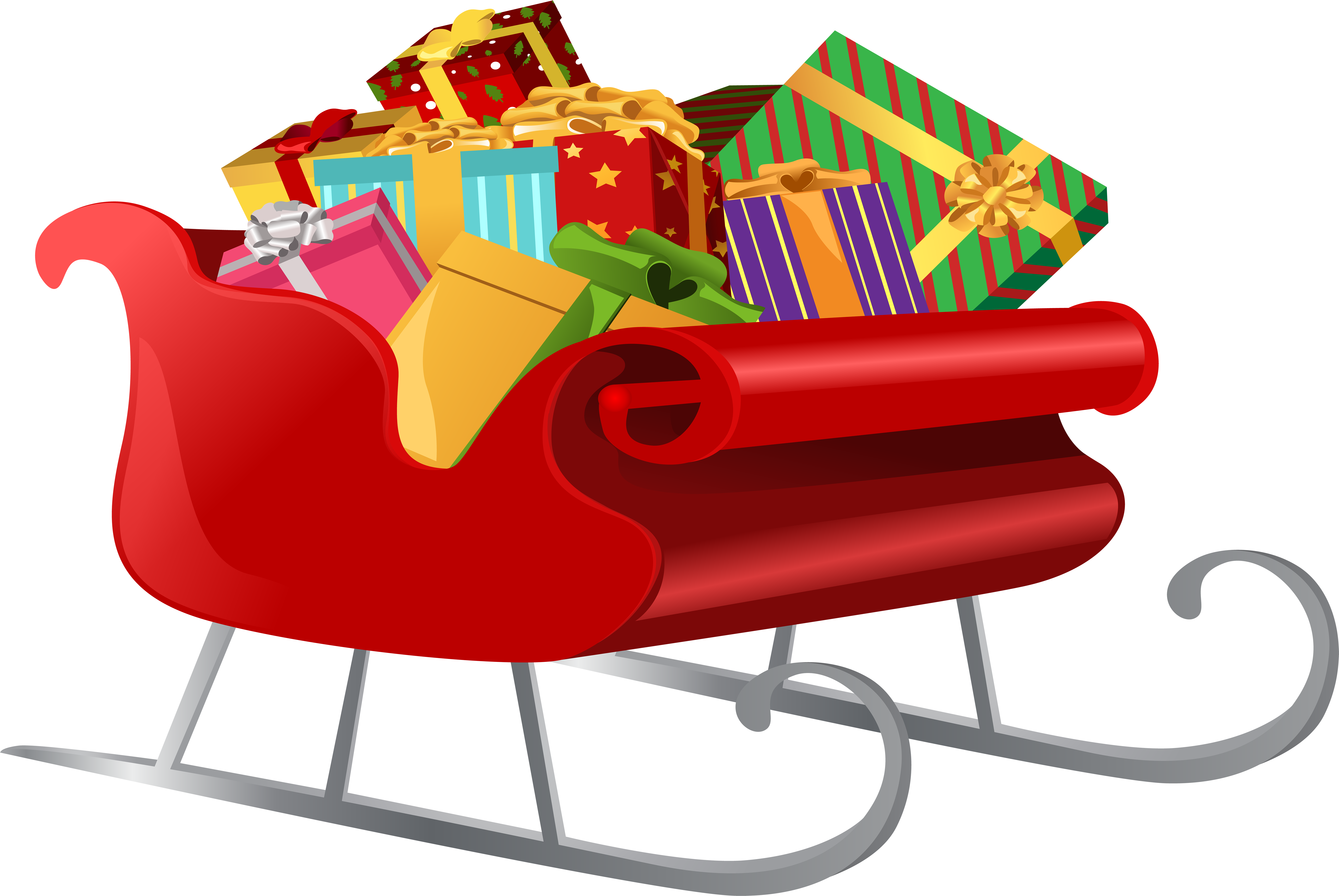 Download Santa Sleigh With Gifts Png Clip Art Image.