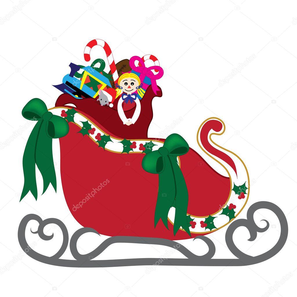 Clipart: santa with sleigh.