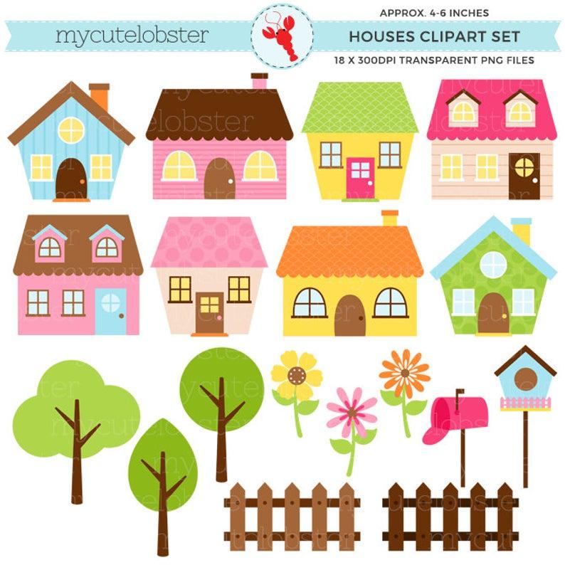 Little Houses Clipart Set.