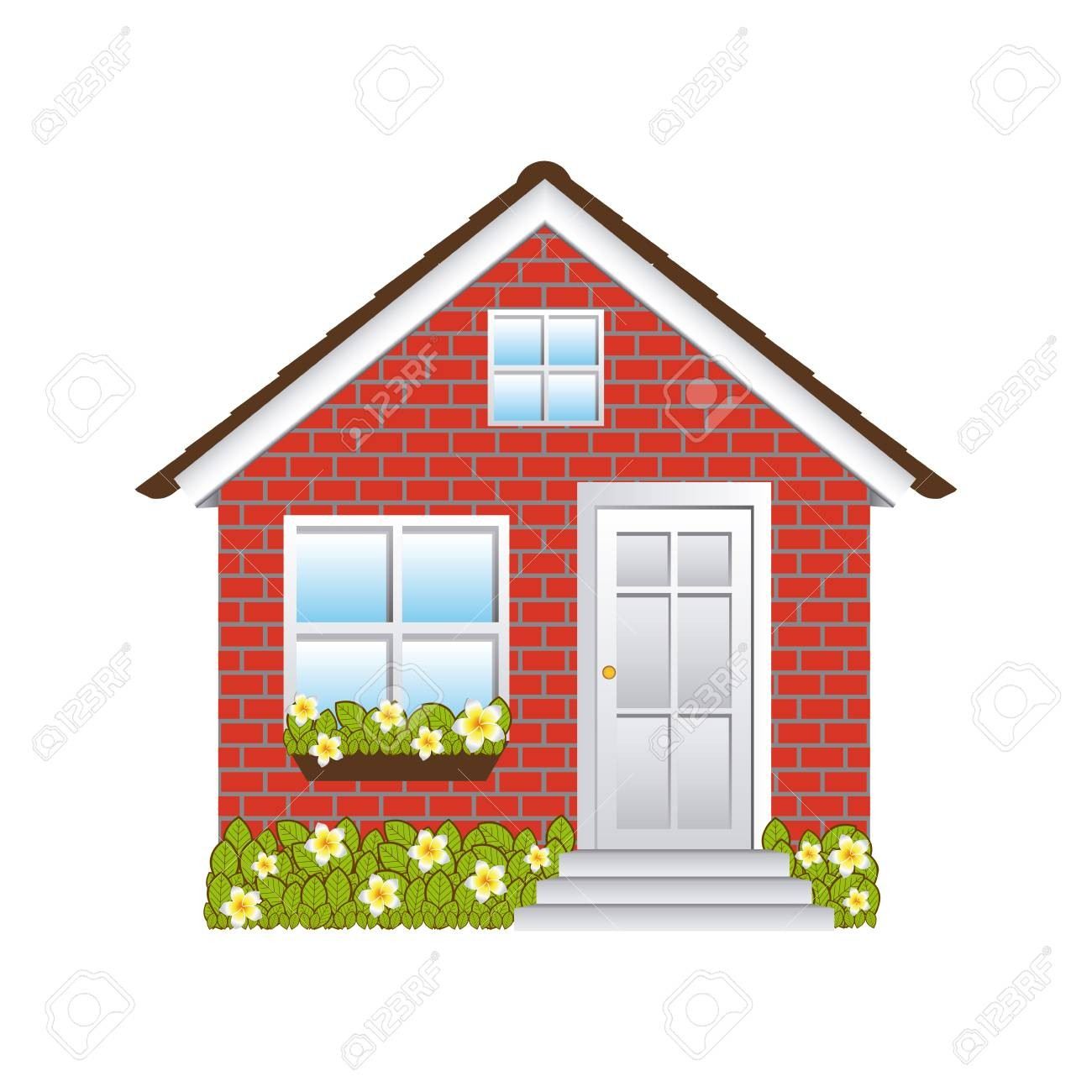 With Clipart Of Small House 74991856 Comfortable Facade Brick Wall.