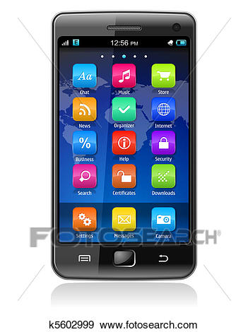 Touchscreen smartphone Clip Art.