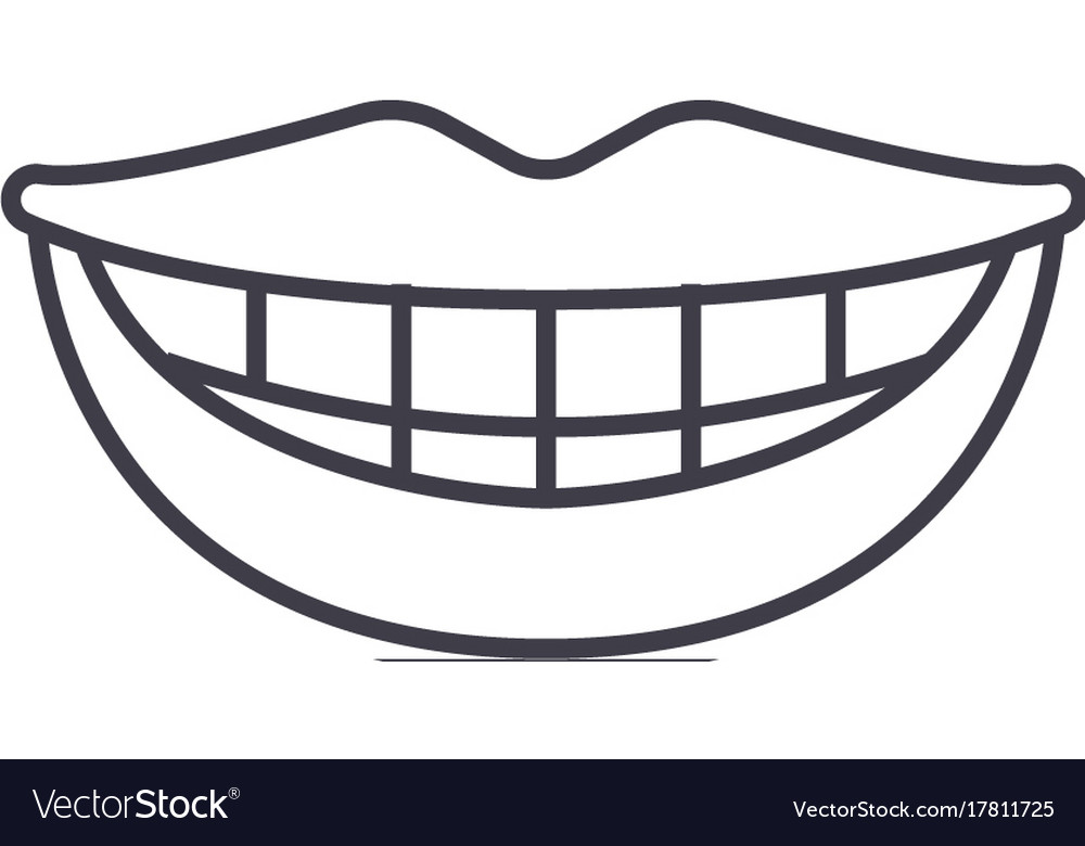 Smile teeth mouth line icon sign.