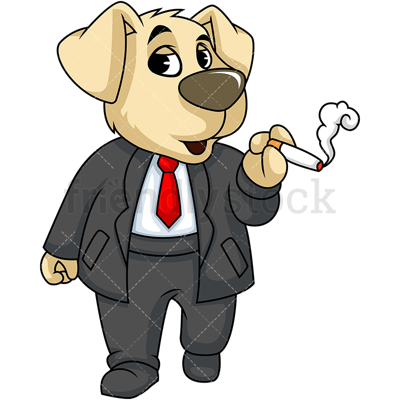 Dog Mascot Character Smoking Cigarette.