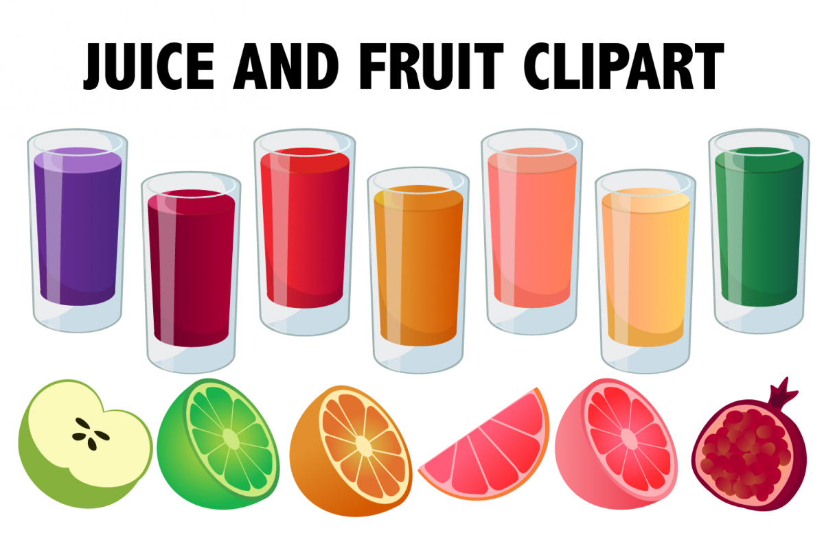 Juice and Fruit Smoothie Clipart.