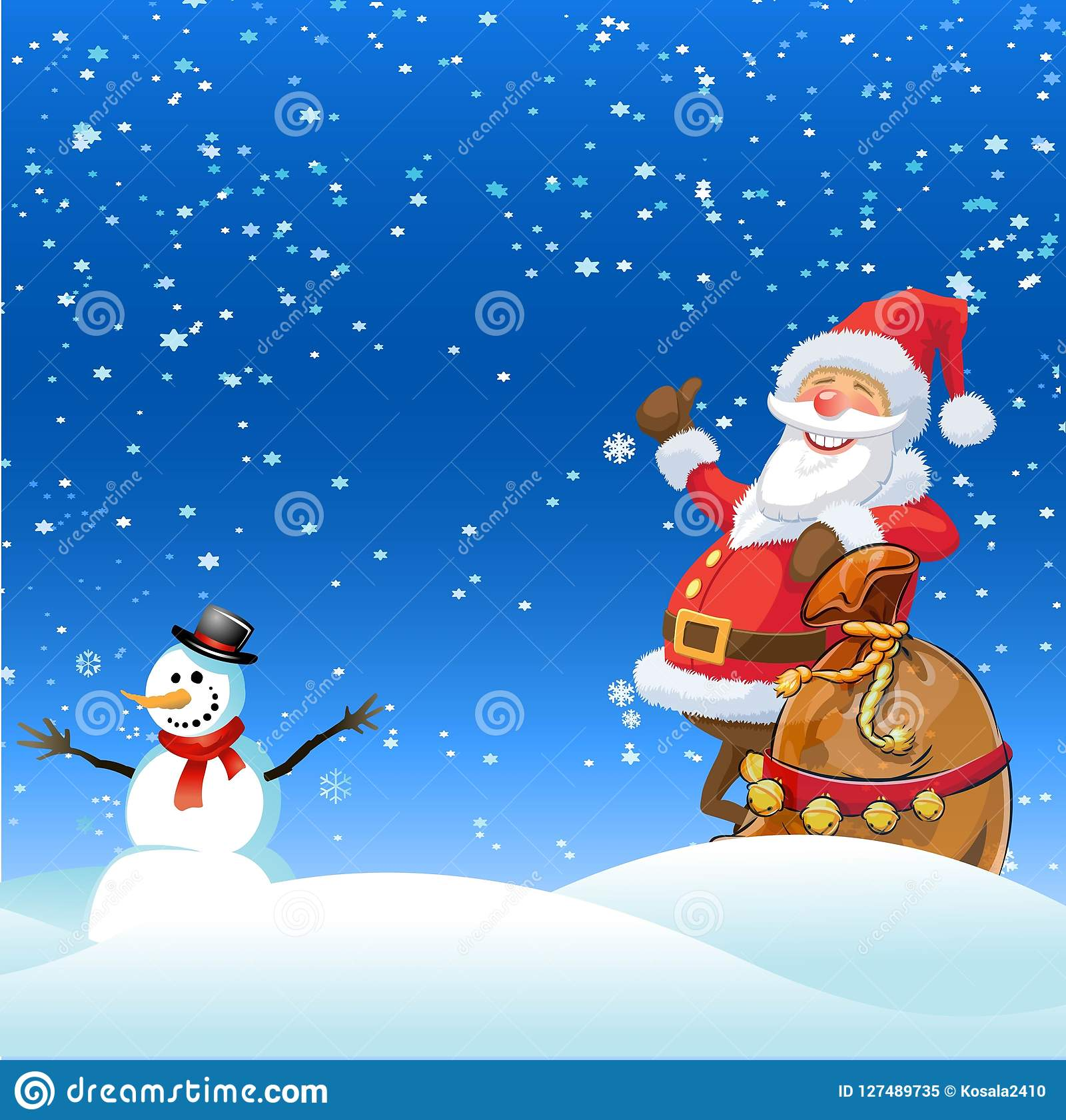 XMAS , VECTOR , ILLUSTRATOR , SANTA , SNOW BABY Stock Illustration.