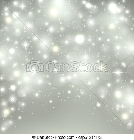 Silver light background. Christmas design with snow, snowflakes, sparkle  stars, glitter. Winter holiday background with xmas decoration. Vector.
