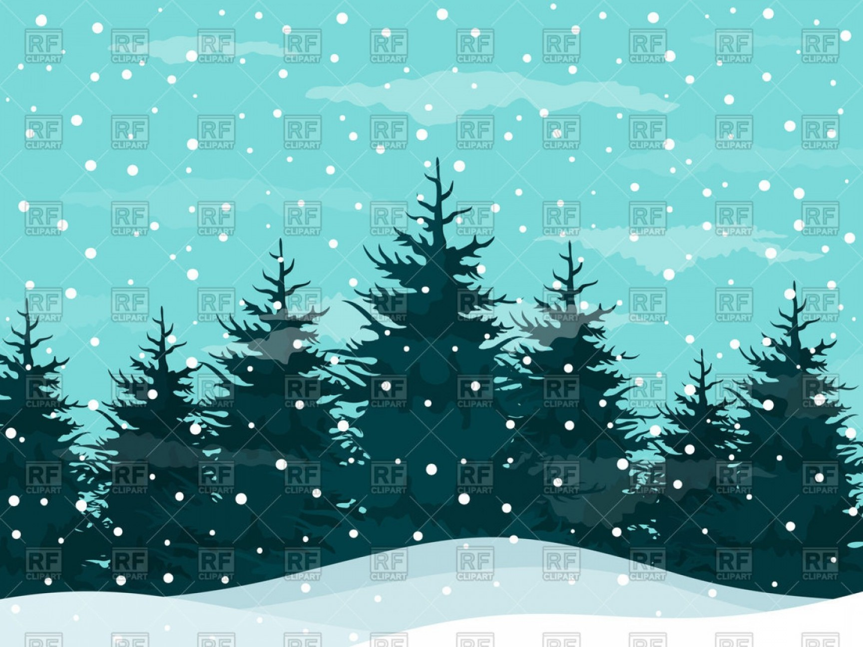 Snow In A Pine Forest Winter Background Vector Clipart.