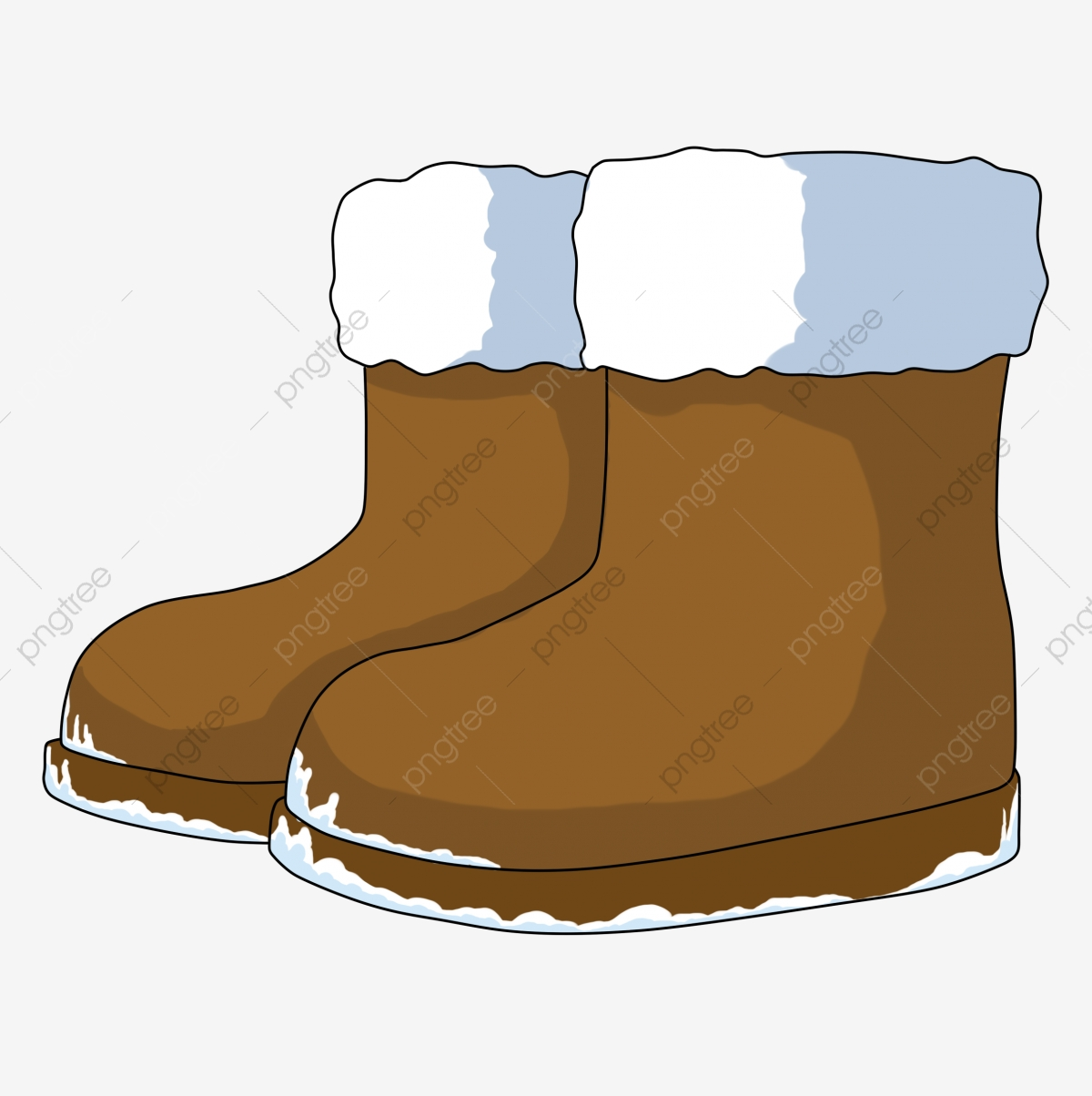 Cartoon Winter Small Things Snow Boots Brown Boots Keep Warm, Lovely.