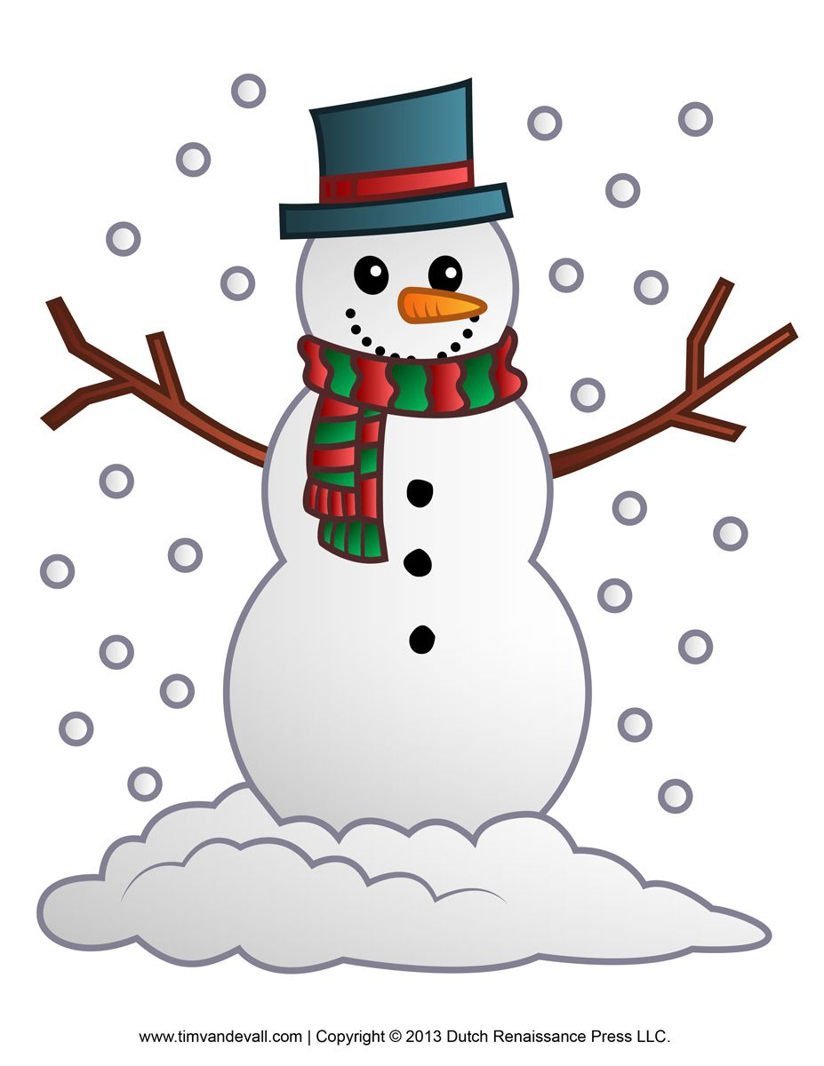 Free snowman clipart, template & printable coloring pages for kids.