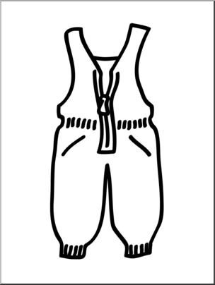 Clip Art: Basic Words: Snow Pants B&W Unlabeled I abcteach.com.