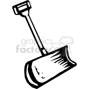 black and white snow shovel clipart. Royalty.