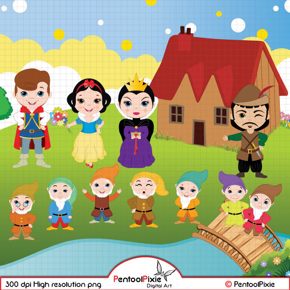 Snow White and the Seven Dwarfs Clipart, Snow White Clipart, Princess  Clipart, Fairytale Clipart, Seven dwarfs Clipart, Digital Clipart,.
