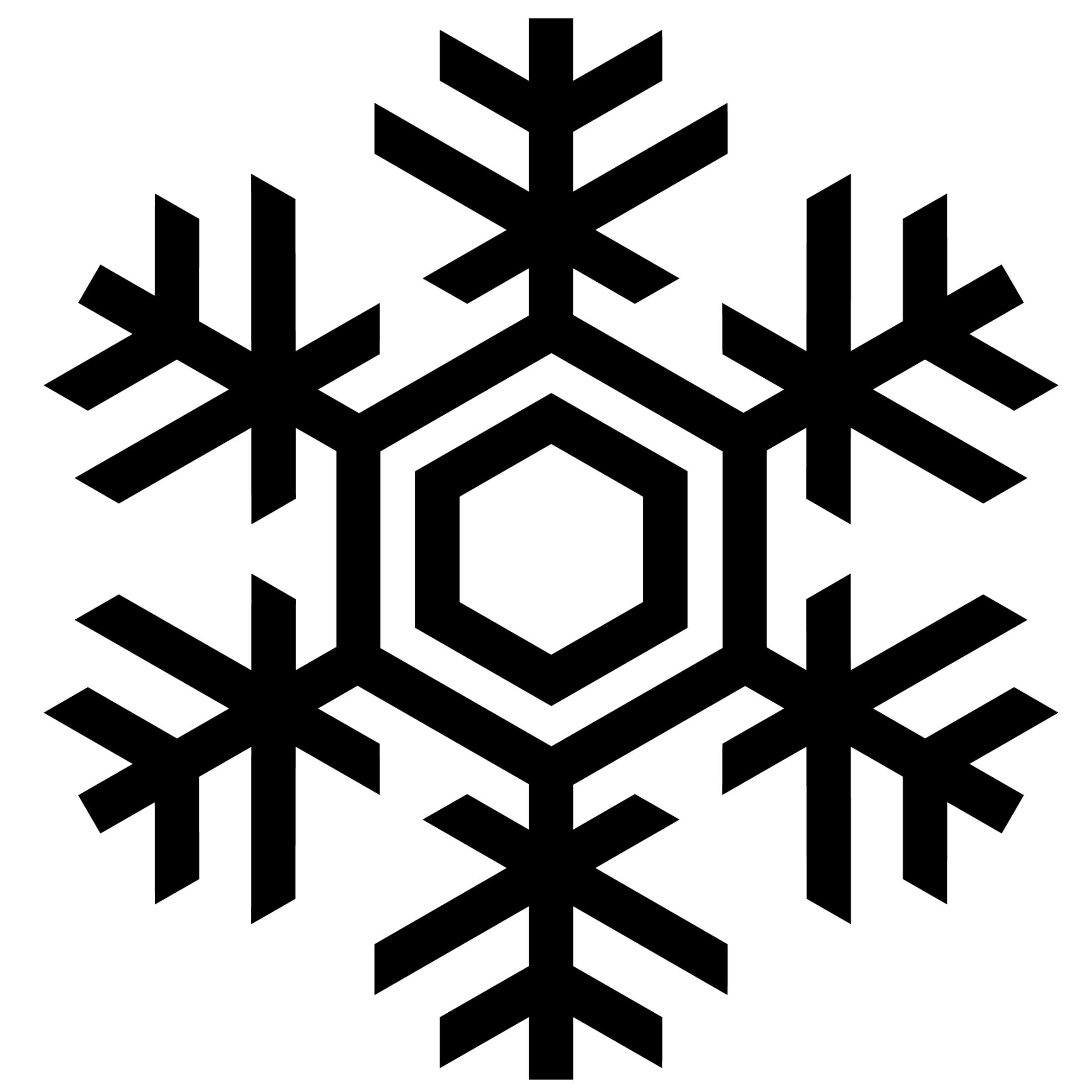 Snowflake Line Drawing Clipart.