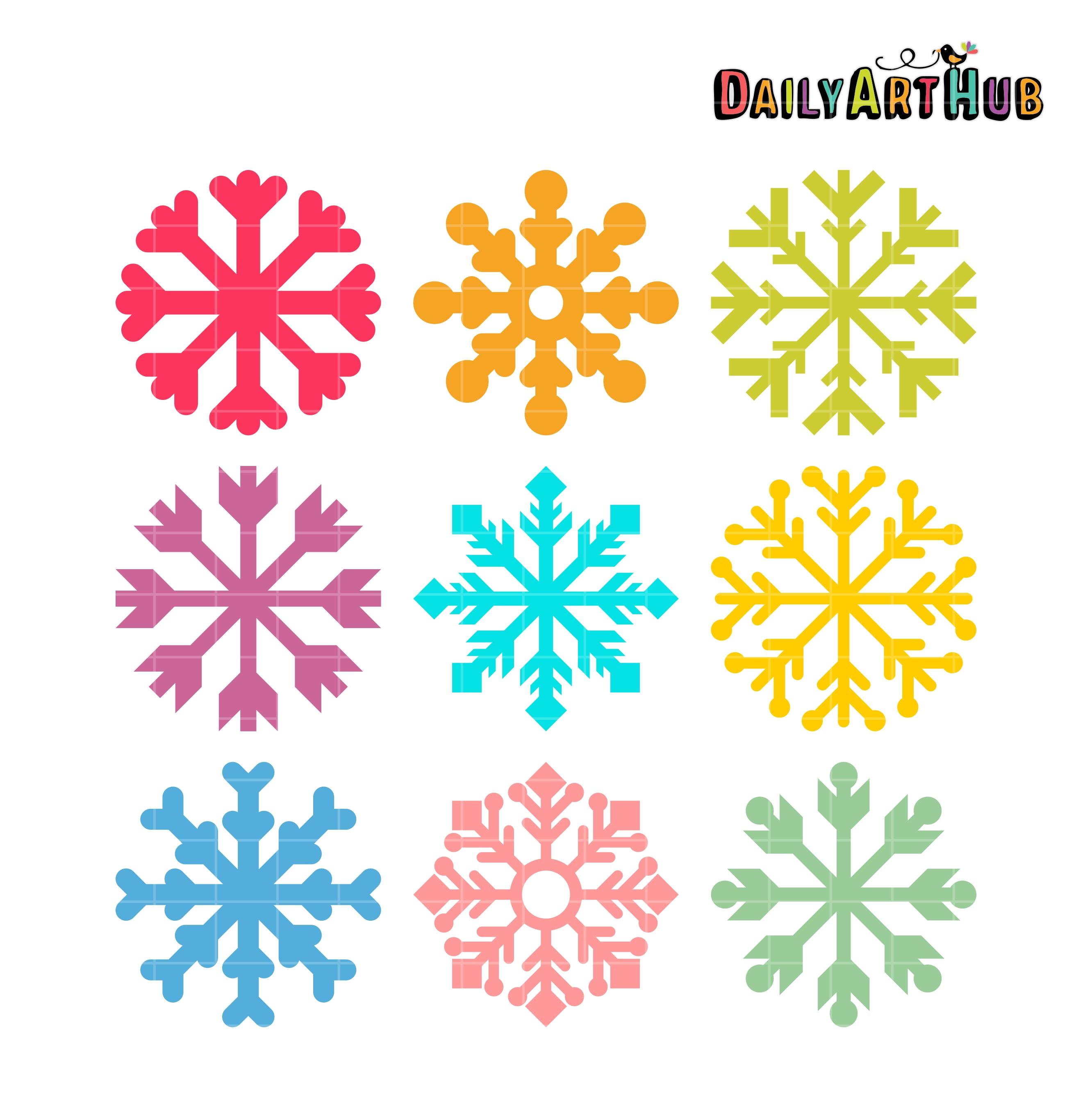 Simple Snowflake Clip Art Set.