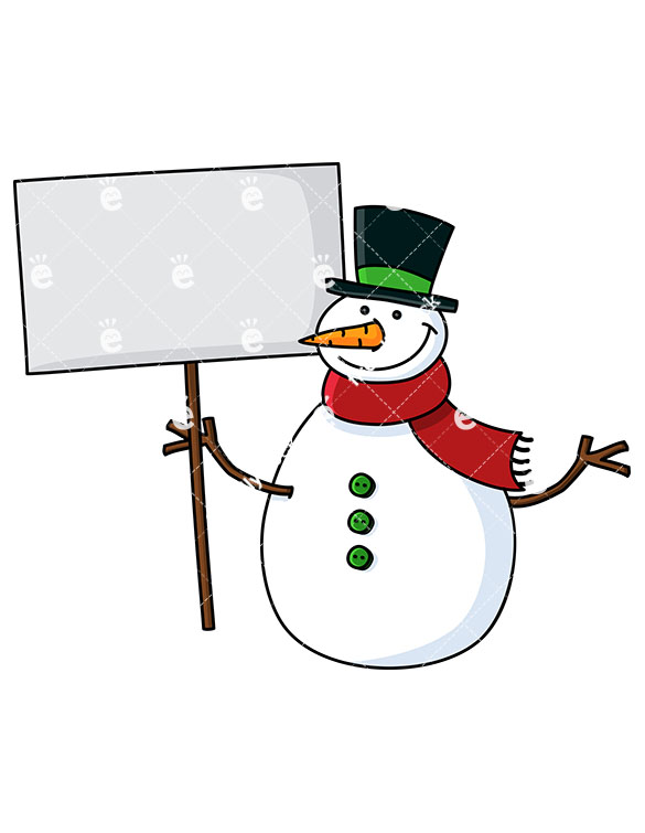 A Smiling Snowman Holding A Blank Sign.