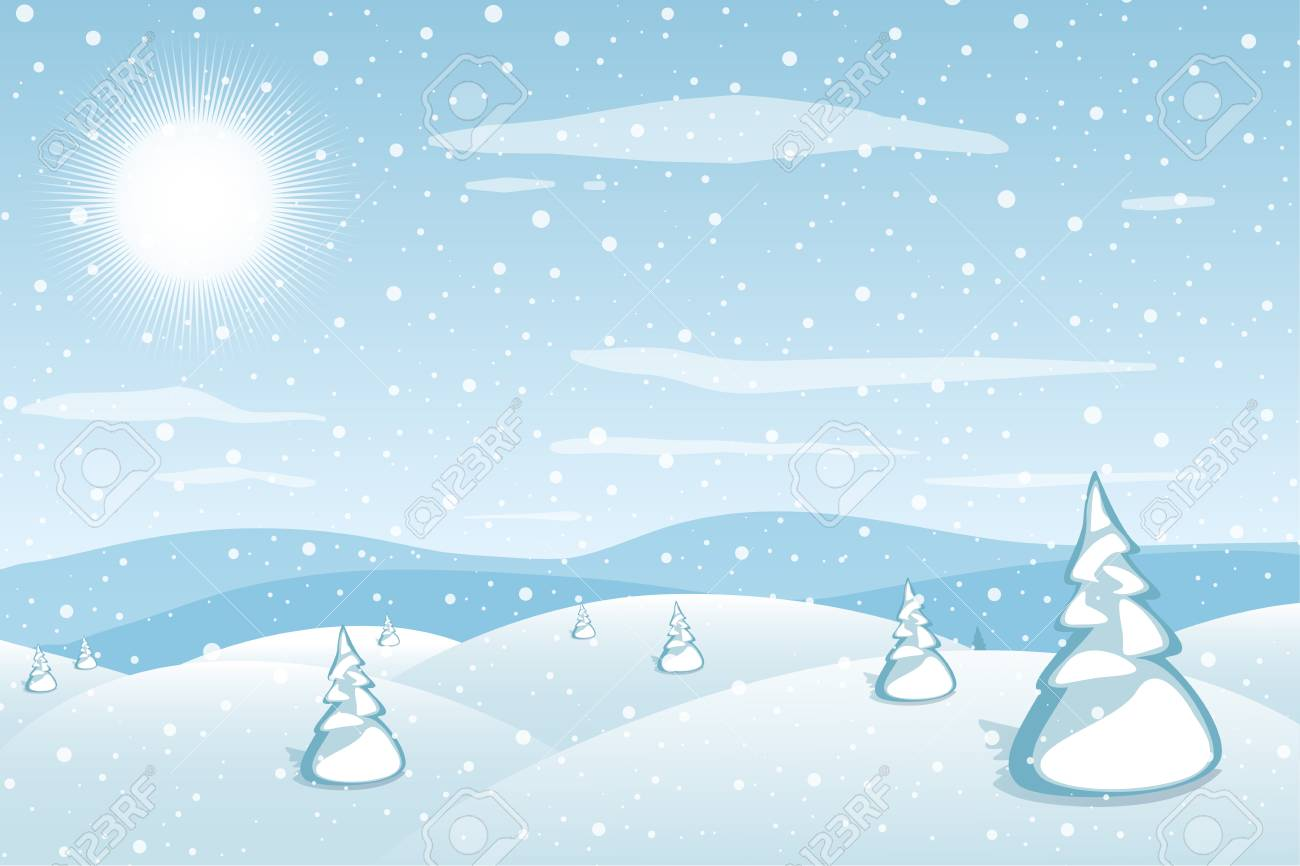 Winter landscape background. Blue mountains snowy hills and pines...