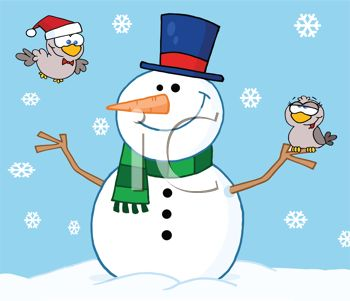 Picture of a Happy Smiling Snowman On a Snowy Day With One Bird.