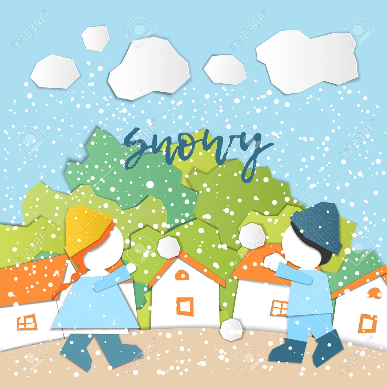 Vector Characters. Weather Forecast in papercut style. Girl and...