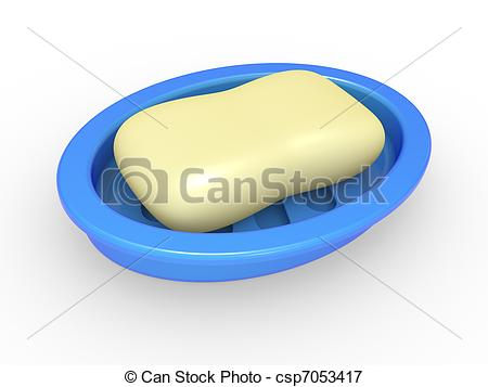 Soap in a soap tray.