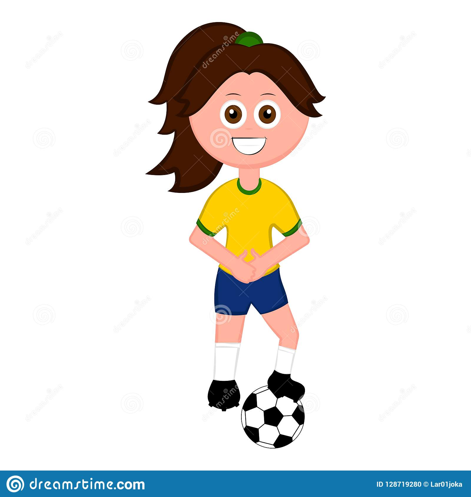 Female Soccer Player With A Soccer Ball Stock Vector.